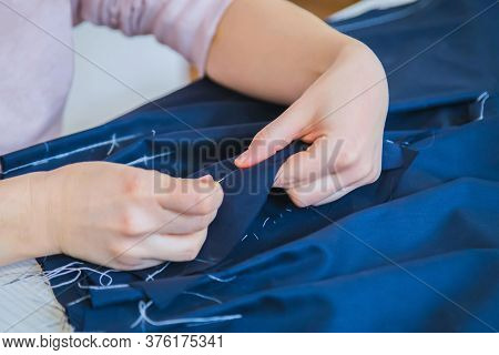 Professional Tailor, Fashion Designer Working At Sewing Studio, Atelier - Close Up View. Preparation