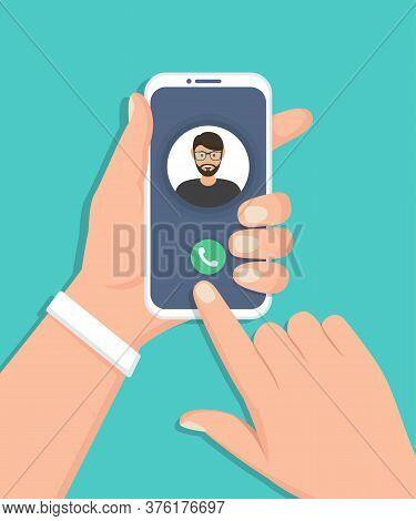 Hand Holding Smartphone With Incoming Call In A Flat Design