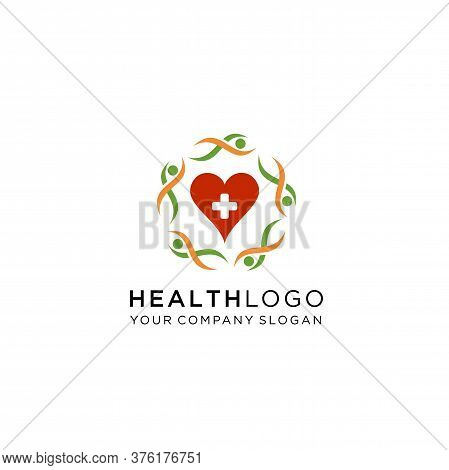 Health Logo Template ,health Care Logo Design. Suitable For Your Health Care Company Or Hospital. He