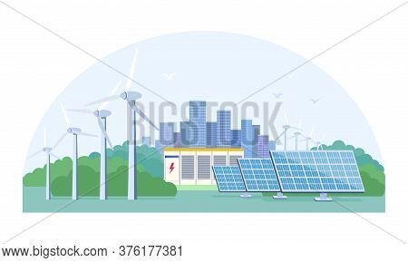 Renewable Energy Concept With Photovoltaic Solar Panels And Wind Turbines On The Outskirts Of A City