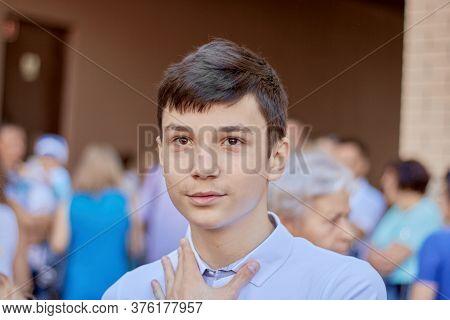 Portrait Of A Teenage Schoolboy, Close-up, Back To School