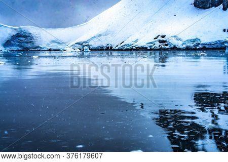 Snowing Blue Glacier Snow Mountains Paradise Bay Skintorp Cove Antarctica. Glacier Ice Blue Because