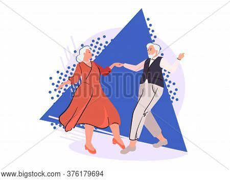 Senior Couple Dancing On Abstract Background. Cartoon Elderly People In Retirement. Age-old Pensione