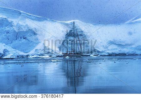 Sailboat Icebergs Glacier Snow Mountains Paradise Bay Skintorp Cove Antarctica