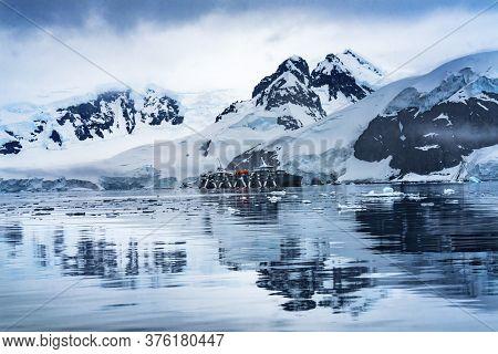 Cruise Ship Blue Glacier Snow Mountains Paradise Bay Skintorp Cove Antarctica