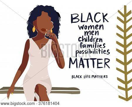 Beautiful African American Young Woman Vector Card. Fashion Female Poster With Hand Drawn Lettering