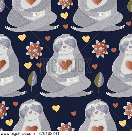 Cute Sloth Meditates Among Flowers. Yoga Cartoon Vector Seamless Pattern In A Flat Style. Slow Lazy