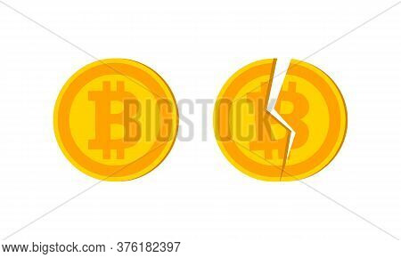 Vector Bitcoin And Destroyed Logo And Icon Design Elements. Vector Eps 10