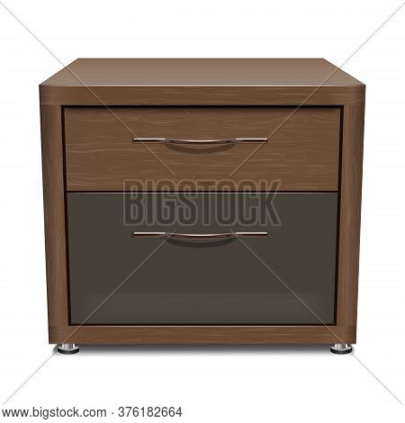 Wooden Office Locker - Cabinet For Papers And Documents. Mockup For The Interior. Isolated On A Whit