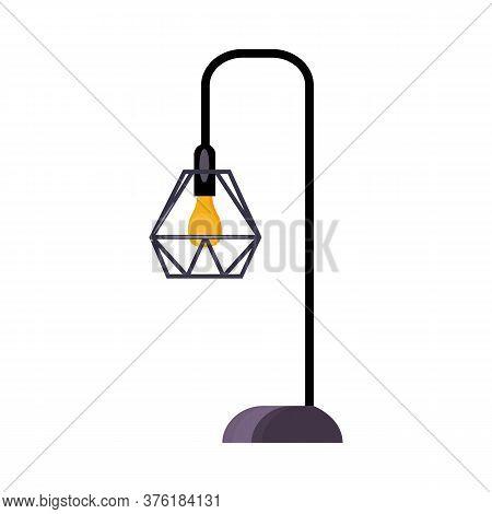 Street Lamp. Bulb, Lattice Lampshade, Lamppost, Lantern. Illustration Can Be Used For Topics Like St