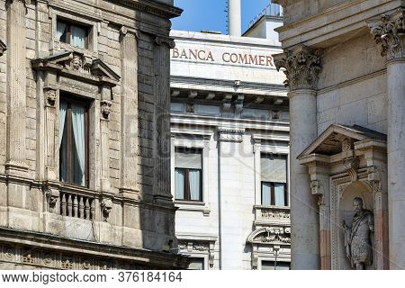 Milan, Italy - April 17, 2018. View From The Saint Fedele Square At 3 Historical Buildings - Palazzo