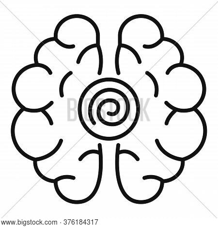 Brain Hypnosis Icon. Outline Brain Hypnosis Vector Icon For Web Design Isolated On White Background
