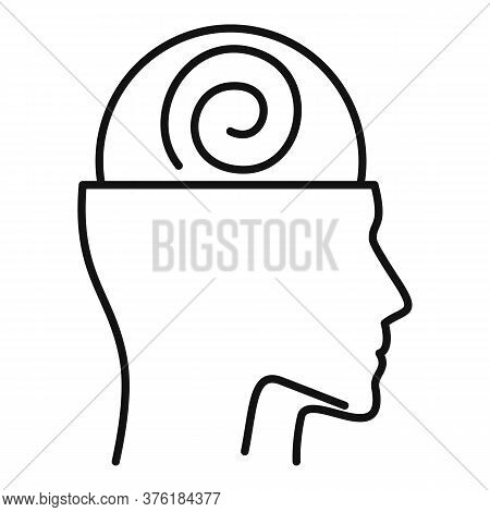 Human Mind Hypnosis Icon. Outline Human Mind Hypnosis Vector Icon For Web Design Isolated On White B