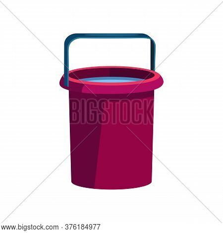 Dark Pink Bucket Illustration. Basket, Home, Cleaning. Houseware Concept. Illustration Can Be Used F