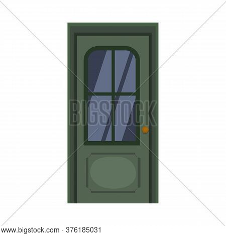 Green Facade Door With Glass. Entry, Exit, Doorway. Illustration Can Be Used For Topics Like Home, M