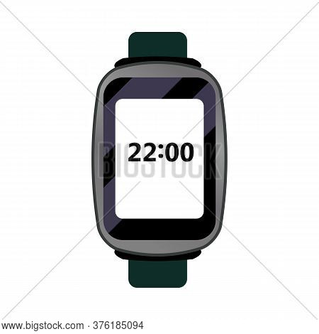 Black Digital Wristwatch Illustration. Clock, Hand, Accessorise. Style And Fashion Concept. Illustra