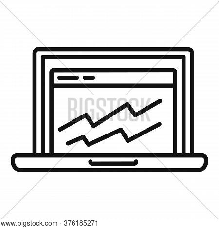 Accounting Laptop Graph Icon. Outline Accounting Laptop Graph Vector Icon For Web Design Isolated On