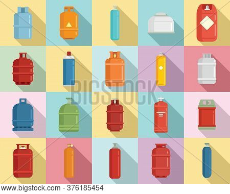 Gas Cylinders Icons Set. Flat Set Of Gas Cylinders Vector Icons For Web Design