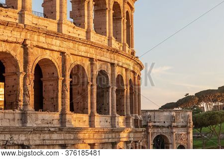 Arena And The Arch Of Constantine In Sunset Light In Rome. Italy. Horizontally.