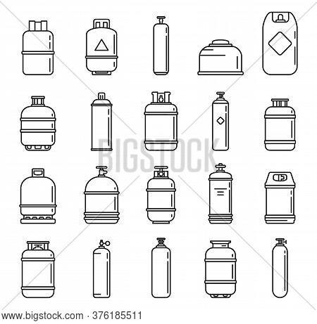 Industrial Gas Cylinders Icons Set. Outline Set Of Industrial Gas Cylinders Vector Icons For Web Des