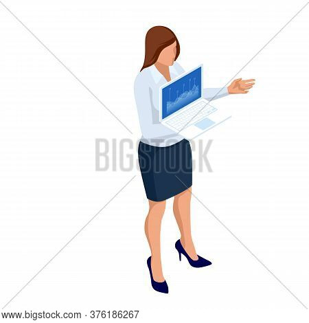 Isometric Business Women Stylish Isolated On White. Business Ladies, Business Woman Character Pose