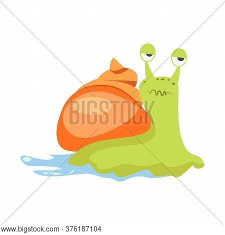 Ugly Green Snail With Orange Cochlea Flat Icon. Book Character, Slug, Gastropod. Mollusk Concept. Il