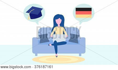 Online German Learning, Distance Education Concept. Language Training And Courses. Woman Student Stu