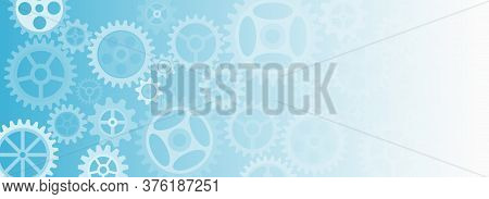 Mechanism With Integrated Gears For Business Presentations Or Web Banner. Abstract Wide Gears Backgr