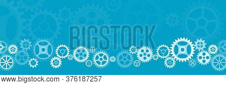Abstract Wide Gears Background. Mechanism With Integrated Gears For Business Presentations Or Inform