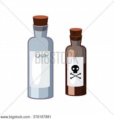 Bottles With Hazardous Liquids. Containers Of Alkali And Dangerous Substance. Can Be Used For Topics