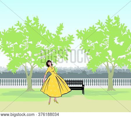 Retro Fashion Dressed Woman (1950's 1960's Style) In City Park Landscape. Stylish Young Lady In Vint