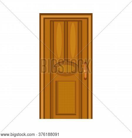 Wooden Door. Brown Interior Door With Handle. Illustration Can Be Used For Topics Like Doorway, Home