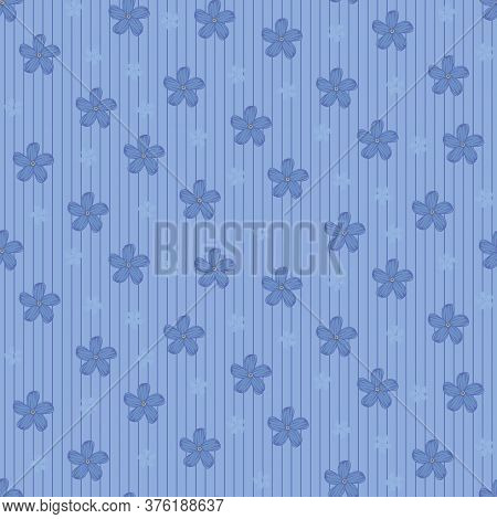 Blue Flowers Girly Seamless Vector Pattern. Decorative Surface Print Design For Backgrounds, Girly F
