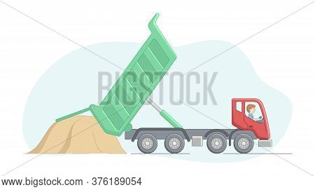 Construction And Heavy Labor Works Concept. Worker On Tipper Lorry Unloads Sand. Construction Machin
