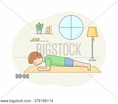 Fitness Concept, Health Care And Active Sport. Male Character Is Exercising In Gym Or At Home On Fit