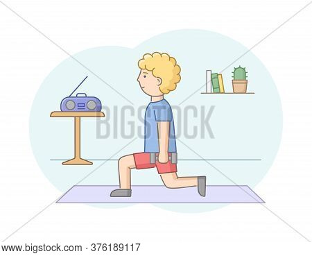 Fitness Concept, Health Care And Active Sport. Male Character Is Exercising In Gym Or At Home With M