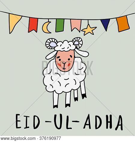 Eid Ul Adha Greeting Card With Sheep, Moon, Star And Flags, Muslim Community Festival Of Sacrifice.
