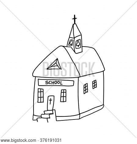 Doodle Style Catholic Church. Sunday Catholic School. Vector Illustration