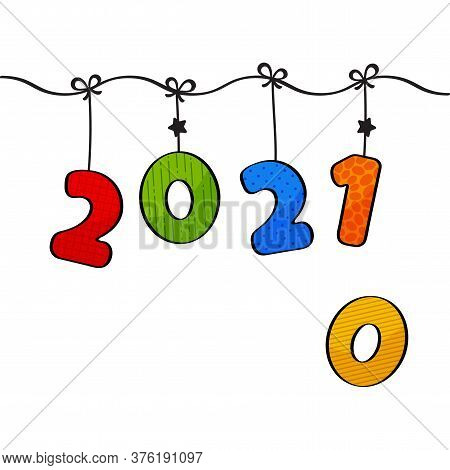 2021 Vs 2010. Greeting Card For New Year. Cartoon Hanging Colorful Numbers. Vector Illustration