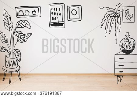Drawn Dresser, Plants And Paintings On Wall And Wooden Floor