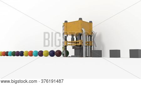 Yellow Metal Foging Machine Forging A Grey Cube Into A Colorfull Sphere On A White Floor And Backgro