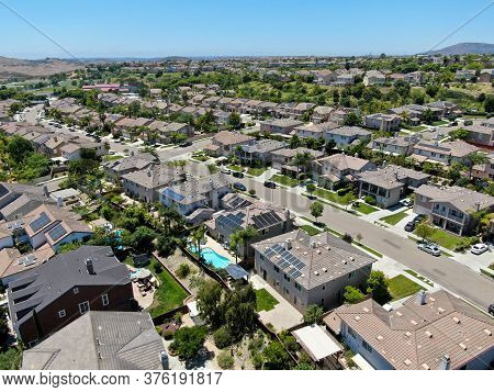 Aerial View Of Big Villas In A Suburban Neighborhood In San Diego, California, Usa. Aerial View Of R