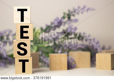 Test Word Made Of Wood Background. Business Concept. Test Sign, Exam, Learning Concept. Word Test Wr