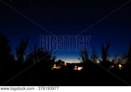 07.14.2020 Comet Neowise In The Night Sky Over The Belarusian Countryside. An Unusual Astronomical P