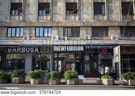 Belgrade, Serbia - April 28, 2019: Takeshy Kurosawa Logo In Front Of Their Boutique In Belgrade. Tak