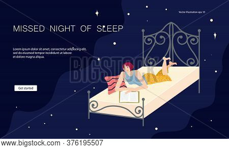 Landing Web Page Template Of Types Of Insomnia. Young Woman Lies On His Stomach In Her Bed And Flips