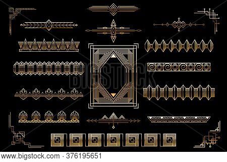 Art Deco Golden Elements Set. Luxury Design Elements. Vector Template. Vector Illustration