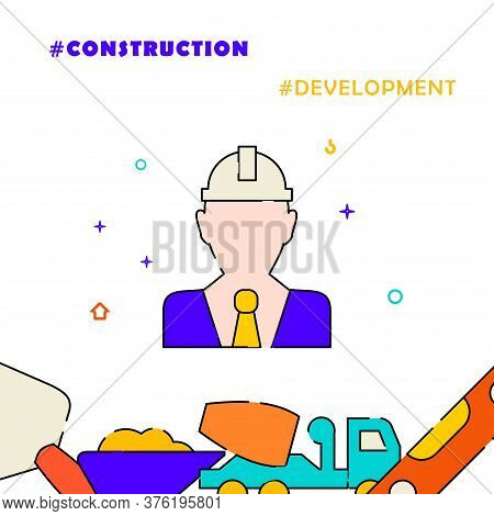 Civil Engineer, Developer In Hard Hat Filled Line Vector Icon, Simple Illustration, Related Bottom B