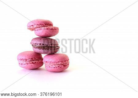 Macaroons, Colorful Macaroons Isolated On White Background, French Sweet Delicacy.  Close-up.