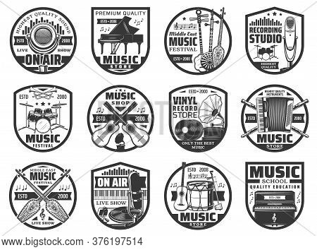 Musical Instruments And Sound Records Icons, Music Vinyl Store And Studio Vector Labels. Music Instr
